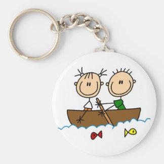 Stick Figure Boat Fishing Tshirts and Gifts Keychain