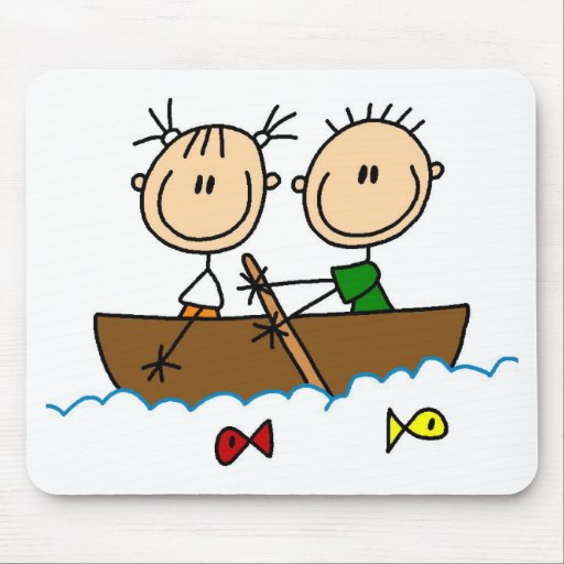 Stick Figure Boat Fishing Tshirts and Gifts Mousepads