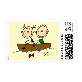 Stick Figure Boat Fishing Tshirts and Gifts Postage