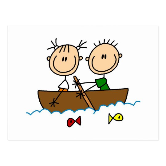 Stick Figure Boat Fishing Tshirts and Gifts Postcard ...