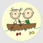 Stick Figure Boat Fishing Tshirts and Gifts Sticker