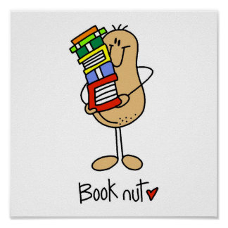 Stick Figure Book Nut Poster