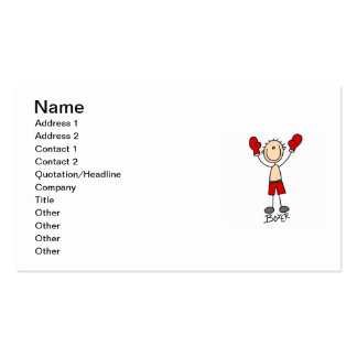 Stick Figure Boxer T-shirts and Gifts Double-Sided Standard Business Cards (Pack Of 100)