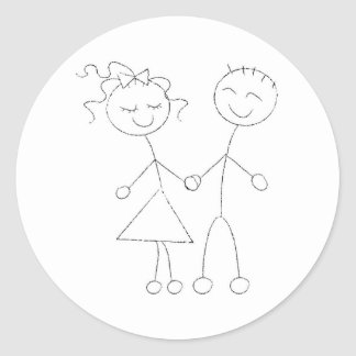 Stick Figure Boy and Girl Classic Round Sticker