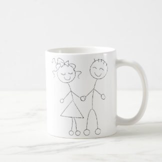 Stick Figure Boy and Girl Coffee Mug