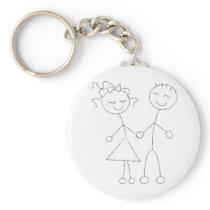 Stick Figure Boy and Girl Keychain