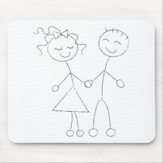 Stick Figure Boy and Girl Mouse Pads