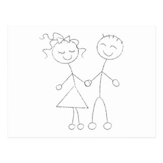 Stick Figure Boy and Girl Post Card