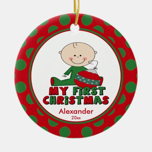 Stick Figure Boy Baby's First Christmas Ornament