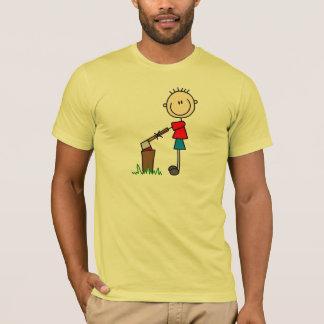 Stick Figure Boy Chops Wood Shirt