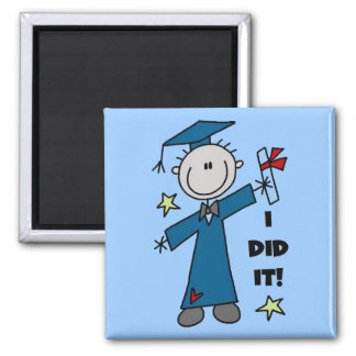 Stick Figure Boy Graduate T-shirts and Gifts 2 Inch Square Magnet