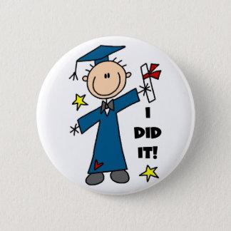 Stick Figure Boy Graduate T-shirts and Gifts Button