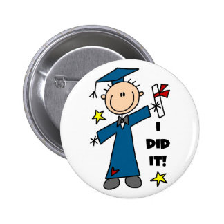 Stick Figure Boy Graduate T-shirts and Gifts Button