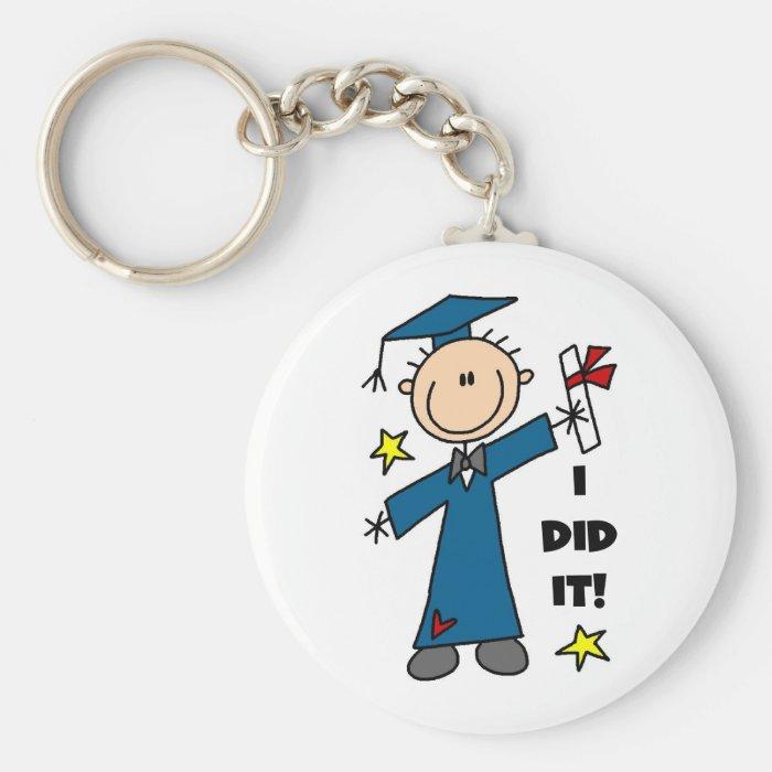 Stick Figure Boy Graduate T-shirts and Gifts Keychain