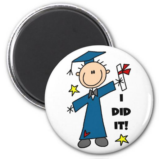 Stick Figure Boy Graduate T-shirts and Gifts 2 Inch Round Magnet
