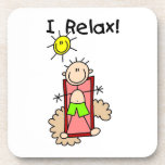 Stick Figure Boy I Relax Beverage Coasters