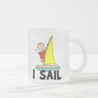 Stick Figure Boy I Sail Frosted Glass Coffee Mug