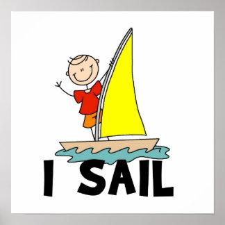Stick Figure Boy I Sail Poster