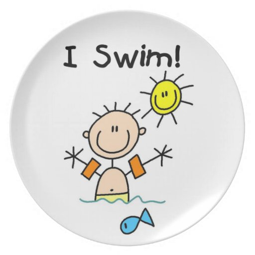 Stick Figure Boy I Swim Party Plate