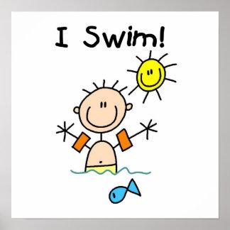 Stick Figure Boy I Swim Posters