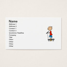 Stick Figure Boy on Scooter Business Card