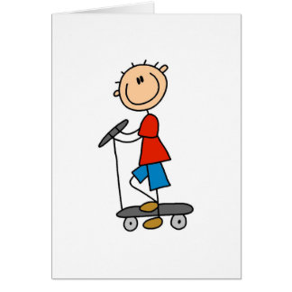 Stick Figure Boy on Scooter Greeting Cards