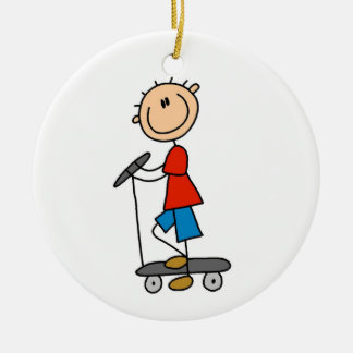 Stick Figure Boy on Scooter Ceramic Ornament