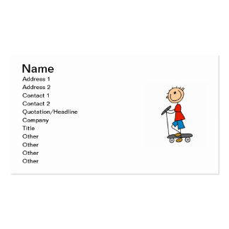 Stick Figure Boy on Scooter Double-Sided Standard Business Cards (Pack Of 100)