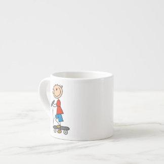 Stick Figure Boy on Scooter Espresso Cup