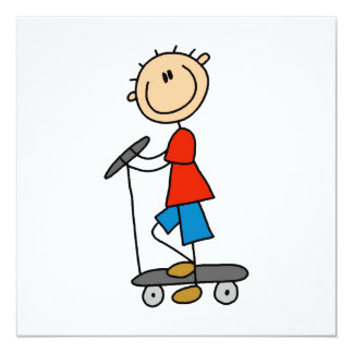 "Stick Figure Boy on Scooter 5.25"" Square Invitation Card"