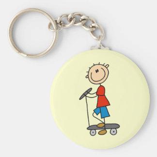 Stick Figure Boy on Scooter Keychain