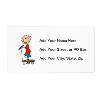 Stick Figure Boy on Scooter Personalized Shipping Label