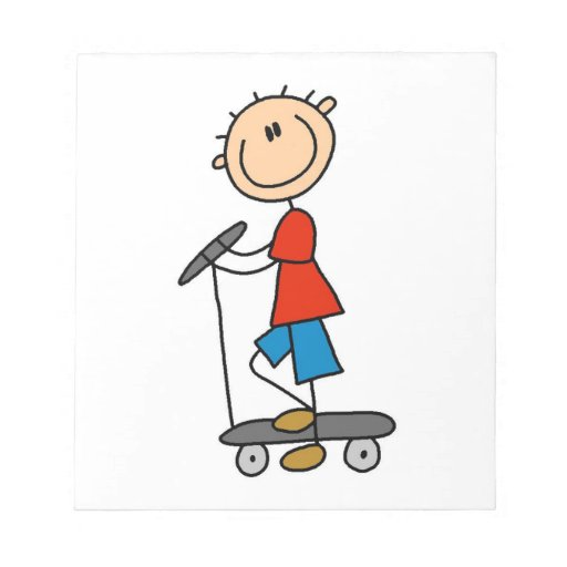 Stick Figure Boy on Scooter Notepads