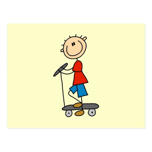 Stick Figure Boy on Scooter Post Cards