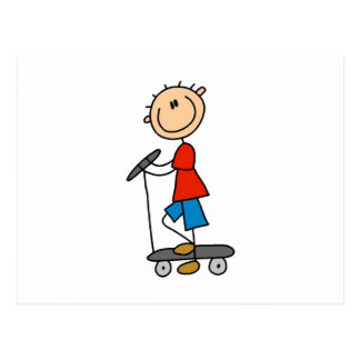 Stick Figure Boy on Scooter Postcard