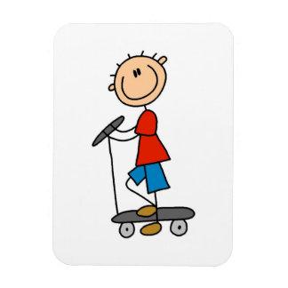 Stick Figure Boy on Scooter Rectangular Photo Magnet