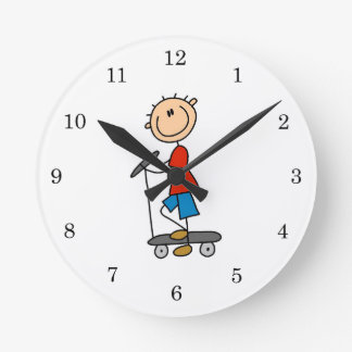 Stick Figure Boy on Scooter Round Clock