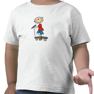 Stick Figure Boy on Scooter Tees