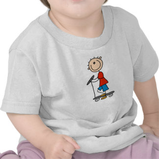 Stick Figure Boy on Scooter Tee Shirts