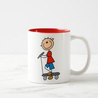 Stick Figure Boy on Scooter Two-Tone Coffee Mug
