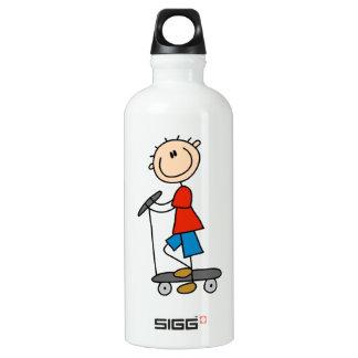 Stick Figure Boy on Scooter Water Bottle