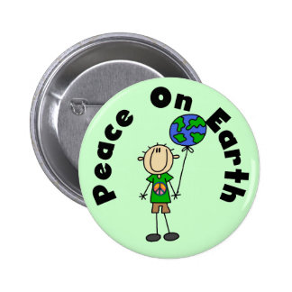 Stick Figure Boy Peace on Earth T-shirts and Gifts Button