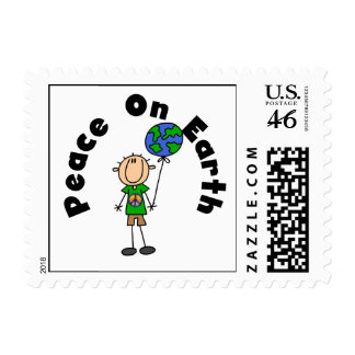 Stick Figure Boy Peace on Earth T-shirts and Gifts Stamps