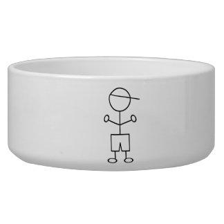 Stick Figure Boy Pet Water Bowls