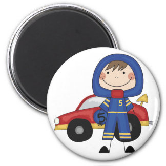 Stick Figure Boy Race Car Driver Tshirts 2 Inch Round Magnet