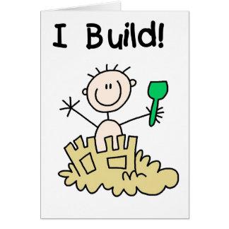 Stick Figure Boy Sand Castle Greeting Card