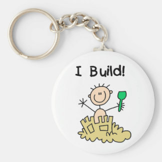 Stick Figure Boy Sand Castle Keychain