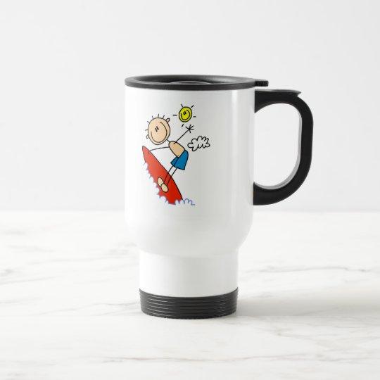 Stick Figure Boy Surfing Mugs