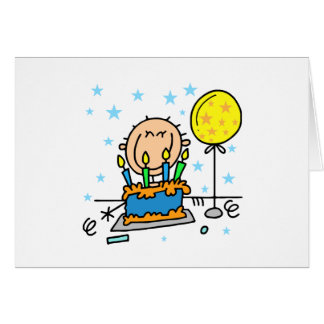 Stick Figure Boy With Birthday Cake Gifts Card