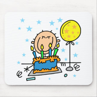Stick Figure Boy With Birthday Cake Gifts Mouse Pad
